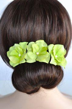 Set of 3 Handmade Lime Green Hydrangea Hair or Bobby Pins (Pearl-399-U)