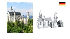3D Metallic Mini DIY Puzzle Stainless Germany Neuschwanstein Castle | eBay