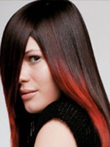 Brown hair with Red ends...i want to do this!