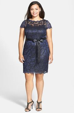 Adrianna Papell Scallop Edge Lace Cocktail Dress (Plus Size) Plus Size Womens Clothing, Clothes For Women, Plus Size Dresses, Dresses For Work, Fashion Over 50, Nordstrom Dresses, Mother Of The Bride, Floral Lace, Designer Dresses