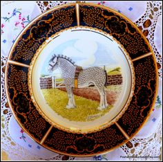 Shire horses rare set of four vintage English china dinner plates with featured original equestrian paintings by T.G.SHERVIN would be a great find for dedicated collectors of equestrian memorabilia or equestrian themed English fine china. #equestrianchina #shirehorses #handpainted #horses #foxhunting #collectibles #rarechina #dining #huntinlodge #china #equestriangifts
