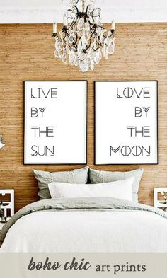 Typography wall art prints   Live by the sun, Love by the moon   boho chic bedroom decor   bohemian or minimalist style black and white art   #affiliate