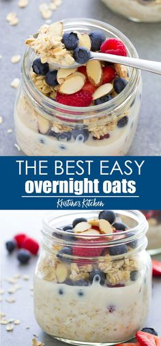 Easy Overnight Oats Recipe – Healthy, Only 4 Ingredients! The best EASY overnight oats recipe! This healthy overnight oatmeal in a jar is made with just four ingredients. One of our favorite breakfasts, especially topped with fresh berries! Healthy Overnight Oatmeal In A Jar, Low Calorie Overnight Oats, Blueberry Overnight Oats, Peanut Butter Overnight Oats, Overnite Oatmeal, Quaker Overnight Oats Recipe, Overnight Oats Greek Yogurt, Overnight Oats Almond Milk, Quaker Oats Recipes