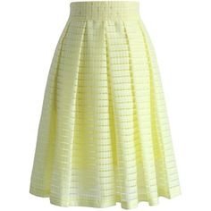Chicwish Grids and Pleats Midi Skirt in Yellow