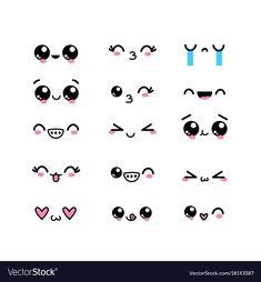 Conjunto kawaii enfrenta personagem com design de expressão Vetor Premium Emoji Drawings, Easy Doodles Drawings, Cute Easy Drawings, Cute Little Drawings, Cute Kawaii Drawings, Simple Doodles, Cute Doodle Art, Doodle Art Designs, Cute Art