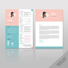 Resume anna fashion soft color a4 Premiu... | Premium Vector #Freepik #vector #business #design #template #fashion Creative Cv Template, Creative Resume, Cv Fashion Designer, Portfolio Design Grafico, Conception Cv, Format Cv, Resume Models, Cv Original, Resume References