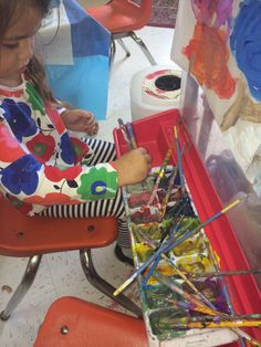 The colors chosen provide an opportunity to create secondary colors.  As the children began mixing and stirring the paint-Little Wonders Blog
