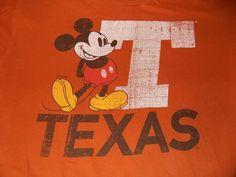 5b4aab19 University of Texas Disney Mickey Mouse T Shirt Size XL Burnt Orange  #Disney #GraphicTee