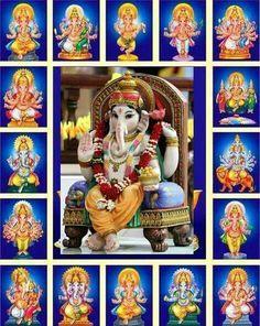 16 Forms of Ganesha Lord Ganesha Paintings, Lord Shiva Painting, Ganesha Art, Lord Murugan Wallpapers, Shiva Lord Wallpapers, Ganesh Images, Ganesha Pictures, Ganesh Lord, Shri Ganesh