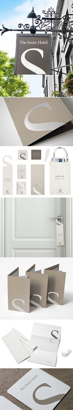 Such a smart design, using S as swan neck // Swan Hotel simple elegance in #identity #packaging #branding #marketing PD