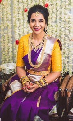 18 Ideas for how to wear necklaces wardrobes Wedding Saree Blouse Designs, Pattu Saree Blouse Designs, Half Saree Designs, Fancy Blouse Designs, Indian Bridal Sarees, Bridal Silk Saree, Bridal Lehenga, Wedding Sarees, Silk Sarees