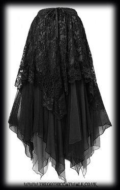 Black Lace & Chiffon Long Gothic Skirt