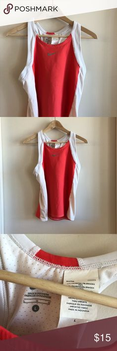 Nike Triathlon Top Large Cute Nike Triathlon top size large. Great for race day or daily training. Excellent used condition. I rarely wore this. Has back pockets for fuel and built in bra. I have more triathlon gear in my closet - bundle and save! Nike Tops Tank Tops