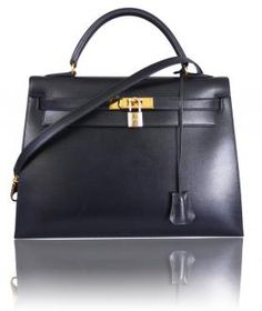 #Hermes Black Box Calf Kelly Bag
