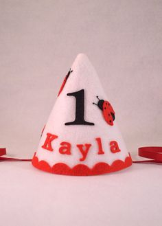 Lady Bug Party hat, Felt Party Hat, Personalized