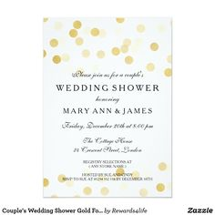 Couple's Wedding Shower Gold Foil Glitter Lights Card