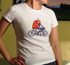Frank the Biking Robot Womens T Shirt by naomicayne on Etsy