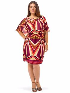 MM2 Cape Blouson Dress Plum Pinwheel 2X (20/22) Elastic Stretch-waist Short Slv #MM2 #BlousonDressCapeDress #Casual