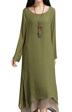 190bd1cdac COCOUSM Womens Linen Cotton Aline Split Hem Baggy Long Maxi Dress     Check  this awesome product by going to the link at the image.