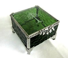 Lord of the Rings, The Hobbit Inspired, Ring Bearer Box, Glass Box, Tree of Gondor, Stained Glass Box, Gift for Him or Her, Geekery, Wedding