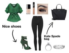 """Stylish green outfit"" by betty16tris ❤ liked on Polyvore featuring Topshop, Max Studio, Kate Spade, Effy Jewelry, NARS Cosmetics and Chanel"
