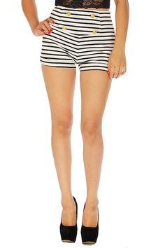 Black White Striped High Waist Pin-up Rockabilly Nautical Sailor Shorts