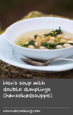 "Hen's soup with double dumplings (hønsekødssuppe) | ""There is a lovely relationship between many classic Danish dishes. When a chicken is boiled to make stock, the meat of the bird is often used for creamy chicken and asparagus tartlets, while the broth is turned into this delicious chicken soup with both pork and dough dumplings. While we used some of the locally available baby vegetables in this soup, it is just as delicious served with the vegetables used to make the stock."" Adam…"