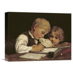 """Global Gallery 'A Boy Writing' by Albert Anker Painting Print on Wrapped Canvas Size: 16.98"""" H x 22"""" W x 1.5"""" D"""