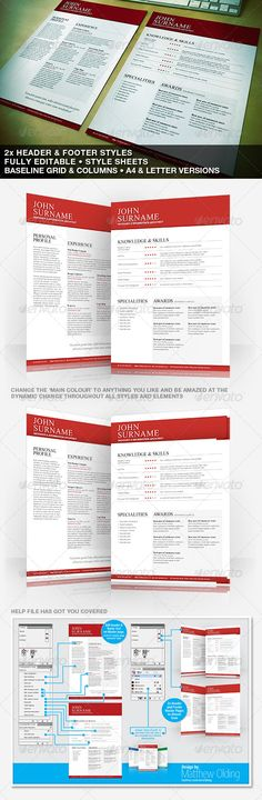 Clean Typographic Resume - A4 & US Letter