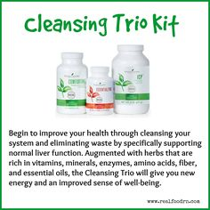 Contains the products you need to begin improving your health through cleansing your system and eliminating waste by specifically supporting normal liver function. #cleansingtriokit #youngliving