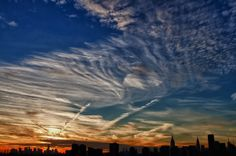 fabulous, swirling sunset clouds today in NYC