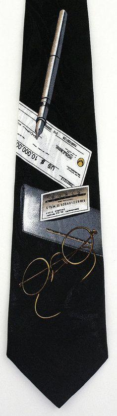 New 10 Million Dollar Check Mens Necktie Checkbook Credit Card Money Neck Tie #Fratello #NeckTie