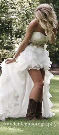 Hi/Lo ruffle wedding dress with cowboy boots