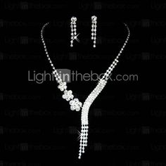 Gorgeous Czech Rhinestones Alloy Plated Wedding Necklace And Earrings Jewelry Set