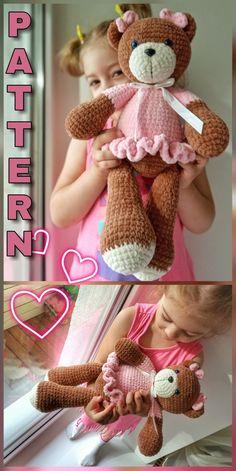 Crochet Teddy, Crochet Bear, Crochet For Kids, Crochet Dolls, Free Crochet, Crochet Hats, Amigurumi Doll, Amigurumi Patterns, Knitting Projects