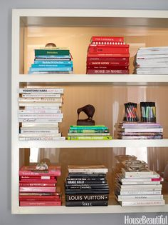 Color Coordinate books for an interesting visual effect.......WARNING  This WILL drive you nuts if you are someone who typically finds books by author :)