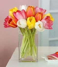 remind me to make a fake tulip arrangement in a rectangular vase