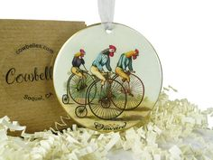 Vintage Chickens & Roosters Riding Bicycles Ornament by Cowbelles, $13.00