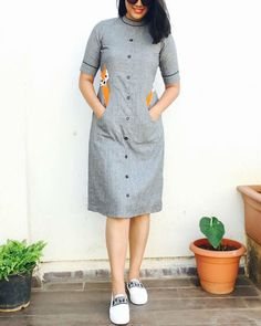 Shop online Grey fox dress Featuring this fun quirky fox applique pocket dress with a mandarin collar. It gives you a fun yet classy look, pair it with your favorite sneakers and style it on your casual day out! Simple Kurti Designs, Kurta Designs Women, Latest Kurti Designs, Plain Kurti Designs, Short Kurti Designs, Frock Fashion, Fashion Dresses, Trendy Dresses, Casual Dresses For Women
