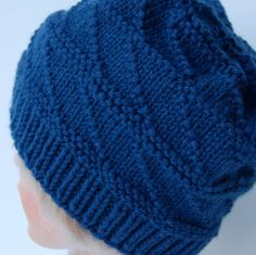 Knitted winter hat  blue knitted hat  hand by LoopsAndLines