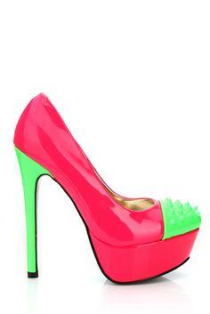 Neon Colours Spike Studs Toe Shoes Toe Shoes, Studs, Platform, Neon, Colours, Heels, Fashion, Loafers & Slip Ons, Heel