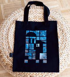 handmade tote bag, black fabric, blue stamp #bag #black #blue #house #architecture #cotton #canvas #shopper #pouch #aqua #home #art $20.00