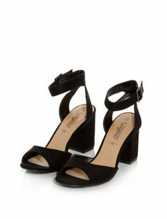 Black Comfort Pointed Sling Back Heels | Shops, Shoes sandals and ...