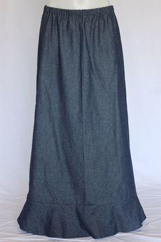 Darling Navy Ruffle Long Jean Skirt, Sizes 4-20: theskirtoutlet.com