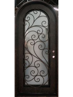The elegant scrollwork really rounds out this wrought iron door. Wrought Iron Stair Railing, Metal Stairs, Wrought Iron Doors, Arched Doors, Front Doors, Window Bars, Door Gate Design, Wood Entry Doors, Customer Service