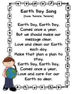 "Earth Day Song (Tune: ""Twinkle, Twinkle""; from Miss Kindergarten)"
