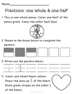 FREE! Fractions (one whole & one half) review page!