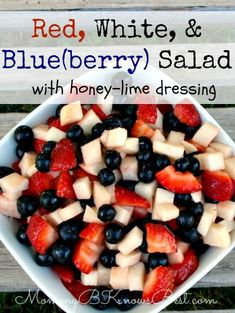 Red, White, and Blue(berry) Salad perfect for #July4th #salad #berries #recipe #jicima #strawberry #blueberry