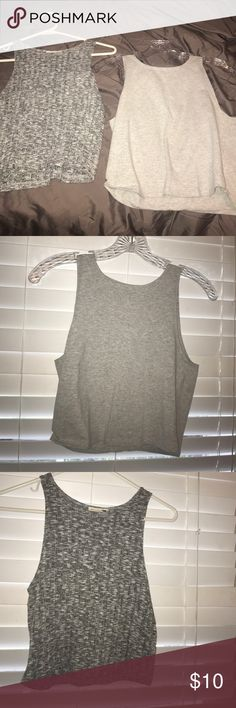 Two grey crop top shirts One is from pacsun and the other is from forever 21. The felt one is a medium and the plain one is a large! Both fit small La Hearts Tops Crop Tops