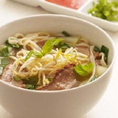 Asian Beef-Noodle Soup-is a delicious traditional Vietnamese recipe, made with beef steak, bok-choy, rice noodles and bean sprouts. Total time start to finish is only 30 minutes. It is also a healthy, low calories, low fat, low carbohydrates, low cholesterol, low sodium, heart-healthy, and Weight Watchers (6) PointsPlus recipe with a generous (1-1/3 cup) serving size). Makes 4 servings.